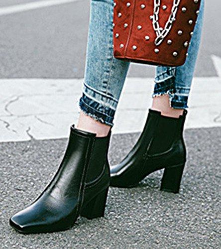 Carré Bloc Boots Mode Femme Talon Bottines Noir Bout Aisun Low Moyen PvPWHrngq