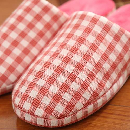 Pantoufles Vichy Appartements En Hommes Coton Anti Peluche Chaussures Maison Indoor Rose Hiver slip Plancher Bois Donad Femmes En6wPqffx