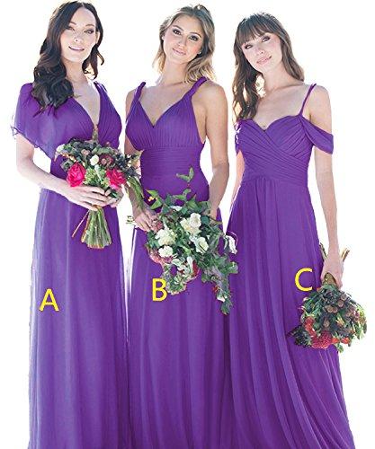 Cdress V-cou Longues Robes De Demoiselle D'honneur Robes De Soirée Bal En Mousseline De Soie Robe De Soirée De Mariage Maxi Pourpre B
