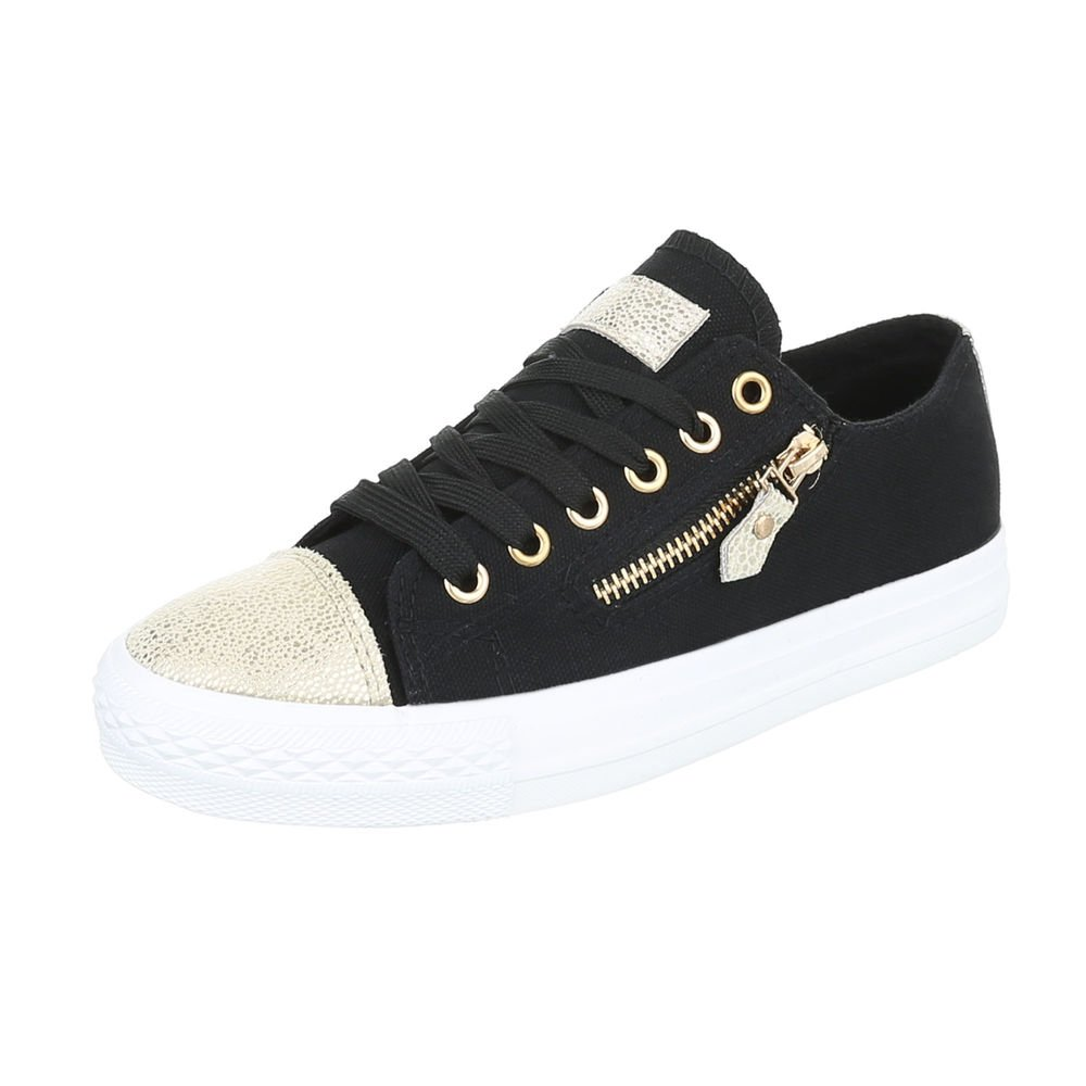 Ital-Design Sneakers Low Damenschuhe Schnürsenkel Freizeitschuhe Schwarz Gold B85BSP