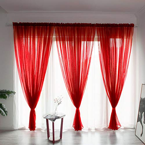 OrchidAmor Leaves Sheer Curtain Tulle Window Treatment Voile Drape Valance 1 Panel Fabric]()