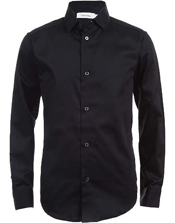 25784034f Calvin Klein Boys' Long Sleeve Sateen Dress Shirt