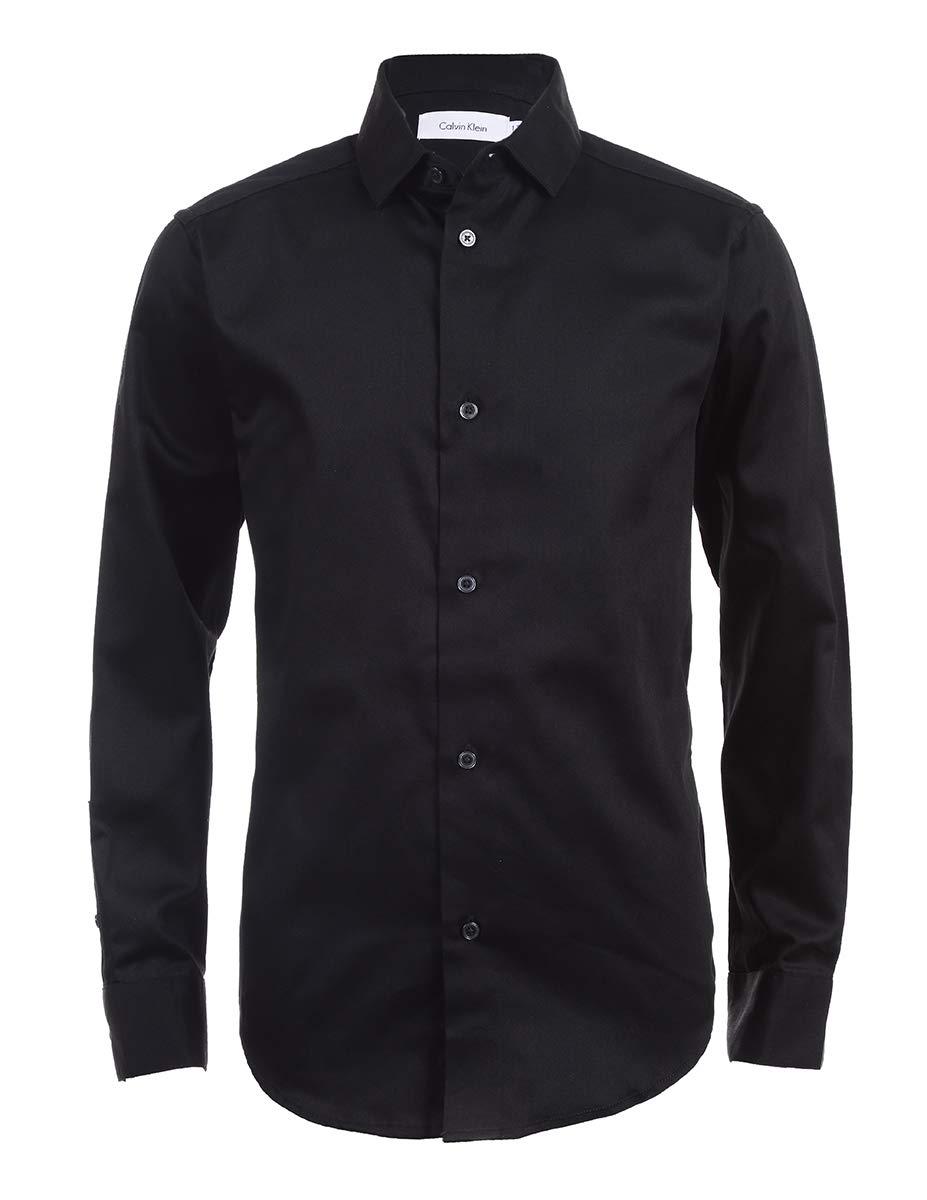 Calvin Klein Boys' Big Long Sleeve Sateen Dress Shirt, Black, 10 by Calvin Klein