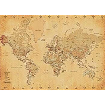Amazon world map vintage style poster print posters prints world map antique vintage giant poster 55x39 sciox Gallery