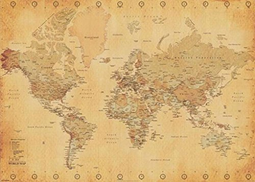 (World Map Antique Vintage Giant Poster 55x39)