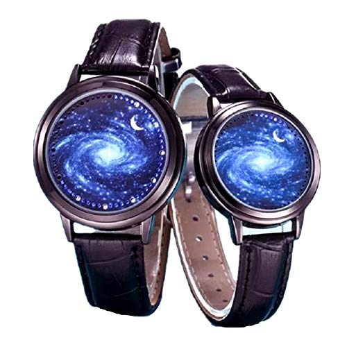 MINILUJIA 30M Waterproof Binary Fashion Led Touch Screen Watch Starry Sky Watch Universe Milky Way Unique Cool Women Girl Watches with Soft Leather Strap Band Black (Pack of 1)