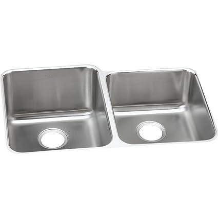 Elkay Lustertone ELUHAD312055R Offset Double Bowl Undermount Stainless  Steel ADA Kitchen Sink