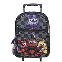 """Bonny Five Nights At Freddys Large School Roller Backpack 16"""" FNAF Trolley Rolling Bag"""