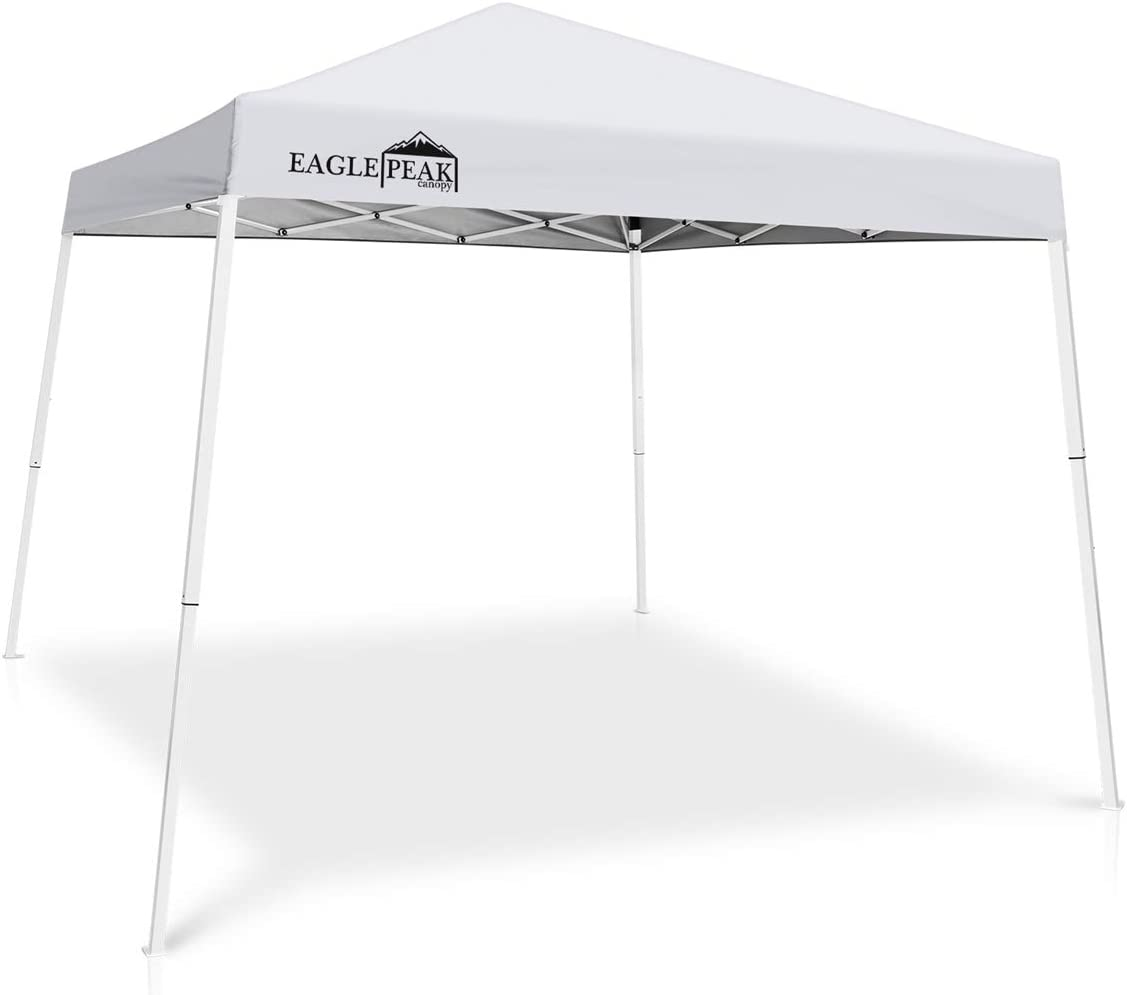 EAGLE PEAK 10 x 10 Slant Leg Pop-up Canopy Tent Instant Outdoor Canopy Easy Set-up Folding Shelter with 64 Square Feet of Shade White
