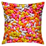 jelly bean cotton candy machine - ErLiu Ss Hold Pillow Colorful Candy Sweet Beans Candy Sugar Beans Peas Yellow Food Pink White Color Delicious Jelly Sweet Beans Dessert Colorful Breathable Bedside Pillows 16x16