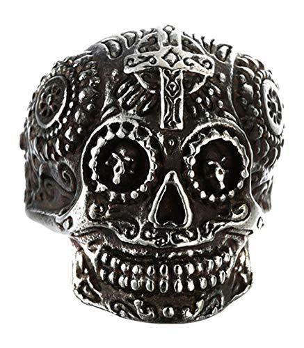 Epinki Ring for Men Titanium Ring Cross Skull Ring Wedding Ring Band Silver Size 7