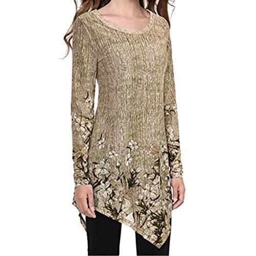(FAPIZI Women's Summer Plus Size Tops, Ladies Print Floral Long Sleeve O-Neck Casual Tunic Blouse Shirts Basic Tee Shirt Khaki)