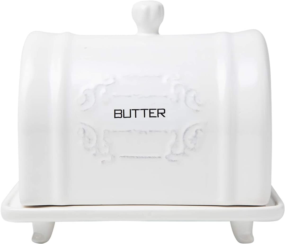 French Design Ceramic Butter Dish With Lid Vintage Ceramic Butter Holder Decorative Butter Keeper With Embossed French Country Style Design Convenient White Butter Container Amazon Ca Home Kitchen
