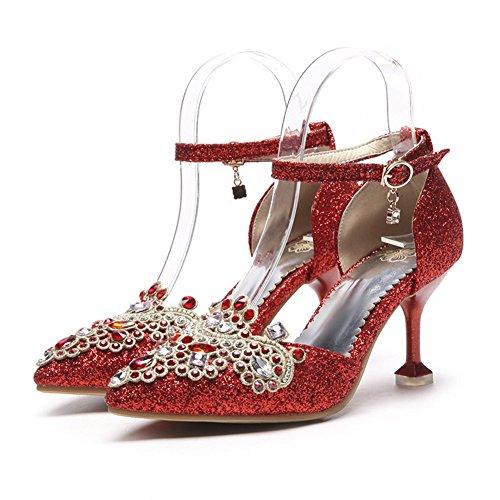 Zapatos de Mujer Artificial PU 2018 Primavera, Verano Otoño Tacón de Aguja Hueco de tacón Alto de Moda Señoras Rhinestone 33-48 Sandalias de Novia (Color : Rojo, tamaño : 40)