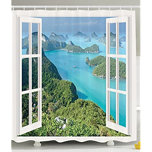Decor For Bathroom Tropical Island Mountain Ocean Theme White Wooden Window Panorama With Scenic View Scene Shower Curtain Alternative Decorations Ideas