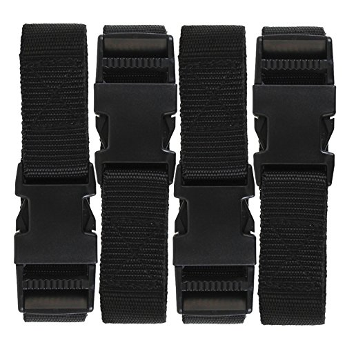 Harrier 72-Inch Utility Strap with Quick-Release Buckle, Black 4-Pack