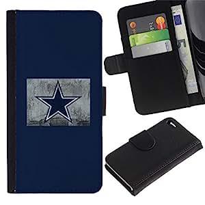 NEECELL GIFT forCITY // Billetera de cuero Caso Cubierta de protección Carcasa / Leather Wallet Case for Apple Iphone 4 / 4S // Estrella azul