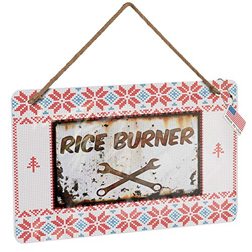 NEONBLOND Metal Sign Rusty Old Look car Rice Burner Vintage Christmas Decoration