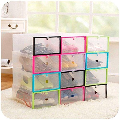 Saver multifunción de plástico transparente caja de almacenamiento para zapatos bricolaje organizador apilable cajón Caso