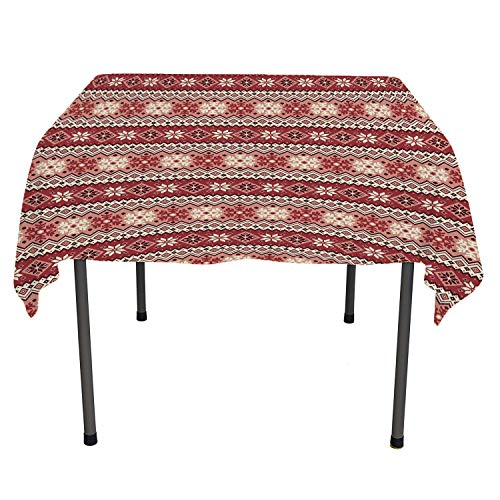Nordic Tablecloth Clear Protector Ancestral Classic Scandinavian Geometric Pattern Christmas Snowflakes Dark Coral Blush White Summer Tablecloth Spring/Summer/Party/Picnic 60 by 84