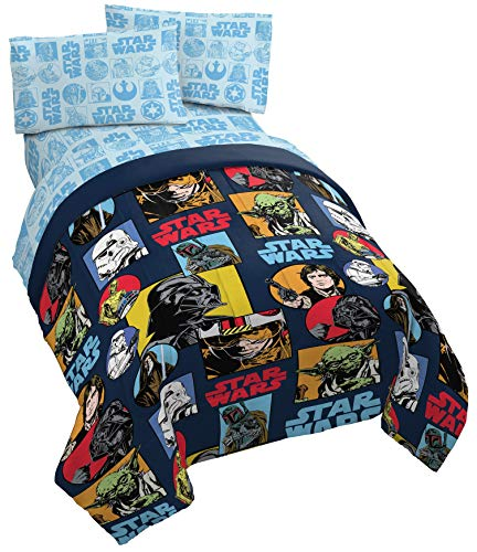 Jay Franco Star Wars Galactic Grid 5 Piece Full Bed Set - Includes Reversible Comforter & Sheet Set - Super Soft Fade Resistant Polyester - (Official Star Wars Product)