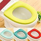 Iuhan 2Pcs Bathroom Toilet Seat Closestool Washable Soft Warmer Mat Cover Pad Cushion❤️Random Color❤️ (2)