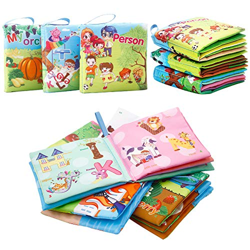 FunsLane Soft Cloth Baby Books Baby First Book Non-Toxic, Fabric, Colorful, Squeak and Rattle, Crinkle Children Educational Toys, Baby Shower Present for Boy and Girl, Pack of 3 (Best Squeeze Page Examples)