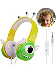 VCOM Kids Headphones with Microphone, Over Ear Stereo Children Wired Headsets Monster Design with Volume Limiting Feature Compatible for iPad Smartphones Kindle Fire Tablets PC Laptops-Green/Yellow