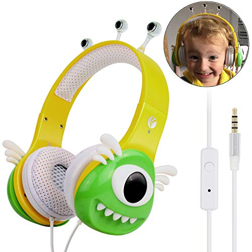 VCOM Kids Headphones with Microphone, Over Ear Stereo Children Headsets Alien Monster Design with Volume Limiting Feature Compatible for iPad Smartphones Kindle Fire Tablet PC Laptop-Green/Yellow