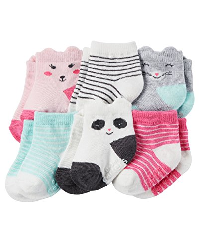 Carters Baby-Girls Socks, Animal Faces, 12-24 Months (Pack of 6)