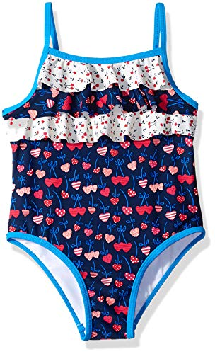 KIKO & MAX Toddler Girls' One Piece Swimsuit Bathing Suit, Navy Cherry Hearts, 4T