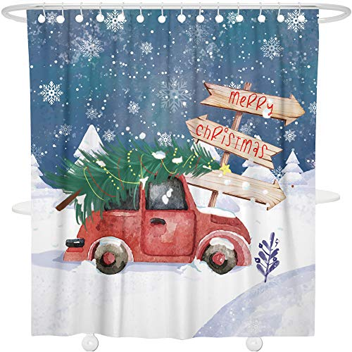 Bonsai Tree Merry Christmas Tree Shower Curtain Year Ornaments Bathroom Decoration Decor Waterproof Polyester Snowflake Christmas Car Bath Curtain with Hooks,72x72 -