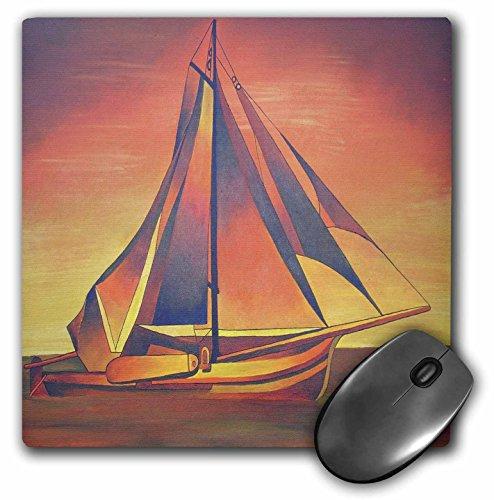 3dRose Taiche - Acrylic Painting - Sailboats - Sienna Sails at Sunset - boats, contemporary, hiddeboomsma, ochre, sailboat, sails, seascape - MousePad (mp_46754_1) ()