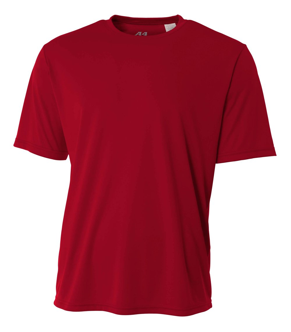 A4 Men's Cooling Performance Crew Short Sleeve T-Shirt, Cardinal, Large by A4