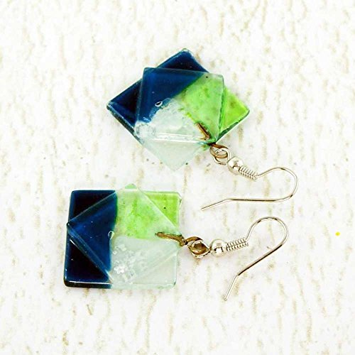 Navy Blue, Green and Clear Fused Glass Earrings, Hippie Boho Style, Handmade Fair Trade Jewelry