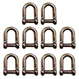 5/16'' Screw Pin D Shackle w/ Hex Sink Pin Stainless Steel – 10 Pack