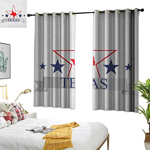 Warm Family Linen Curtains Texas Star,San Antonio Dallas Houston Austin Map with Stars Pattern USA, Navy Blue Vermilion Pale Grey 72