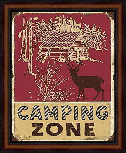 Zone Box Nature (Lodge Sign - Camping Zone by Jean Plout Fine Art Print with Wood Box Frame and Glass Cover, 19 x 23 inches)