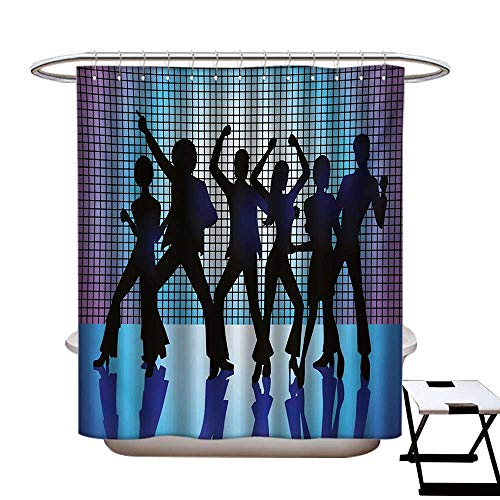 70s Party Shower Curtains Waterproof Silhouettes of Couples Dancing in Night Club Energetic Classic Art Print Fabric Bathroom Decor Set with Hooks W69 x L75 Aqua Black -
