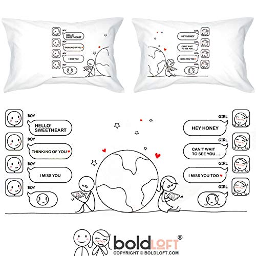 BoldLoft Wish You were Here Couples Pillowcases-Long Distance Relationships Gifts, Long Distance Gifts for Couples, Gifts for Him for Her, His and Hers Gifts, LDR Gifts (Best Message For Long Distance Relationship)