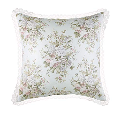 Five Queens Court Harper Floral 20 Inch Square Throw Pillow, Blue