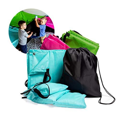 Fort A Kit Build - JumpOff Jo Build Me Blanket Fort - Blanket Fort Kit for Kids Ages 3+ - 3 Blankets, Configurable Design, Multiple Colors, Lightweight, Includes Drawstring Backpack