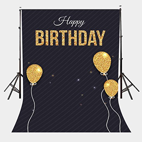 LYLYCTY 5X7ft Happy Birthday Photography Background Golden Balloons Photography Background Studio Props Birthday Party Background LYGE651