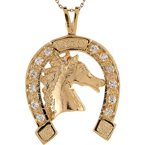 Jewelry Liquidation 14k Yellow Gold White CZ Lucky Horseshoe Slide - Slide Pendant Horseshoe