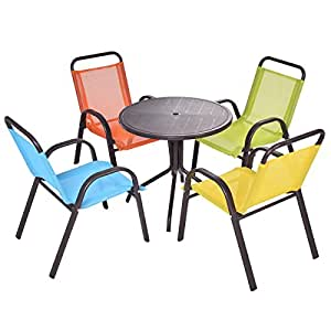 costzon kids table set 5 pieces patio activity table and chairs set baby. Black Bedroom Furniture Sets. Home Design Ideas