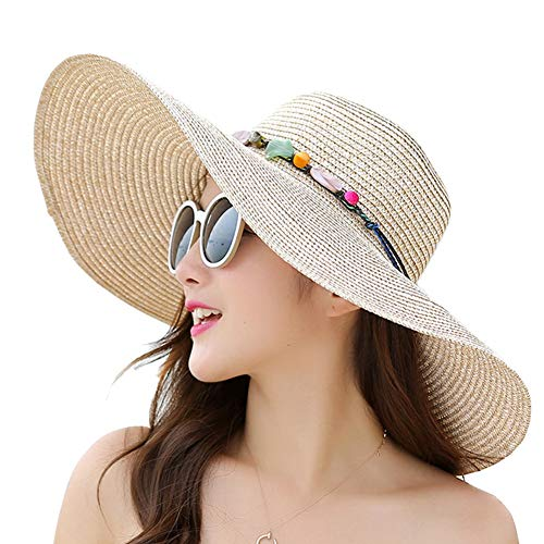 Women Wide Brim Sun Protection Straw Hat for Outdoors Tavel Foldable UV  Protection Beach Cap Sun Hat for Summer (B-Beige) bc9a1843ca6b