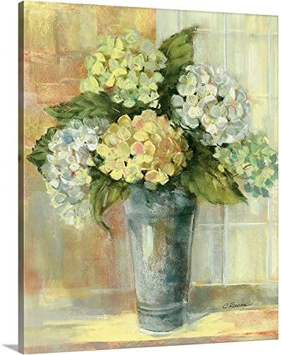 Yellow Hydrangea Canvas Wall Art Print