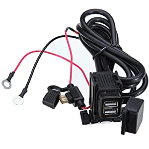 DecoStain 3.1Amp Motorcycle USB Charger Kit Inline Fuse Dual Waterproof Port for Phone GPS Gopro