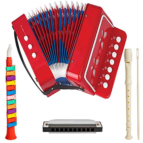 First Note USA Play Musical Instruments Accordion Toy for Toddler Kids, Boys and Girls Set of 4 Durable Instruments Including Accordion, Harmonica, Piano Horn, and Soprano Descant Recorder