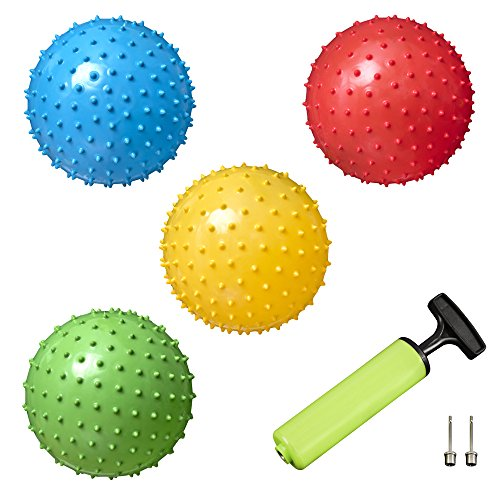 Spiky Message Bouncing Balls (Set of 4) Plus 2 Pins & Pump for Kids Play by New Bounce|Durable Indoor/Outdoor Toys for Children|Fun Gift Idea for Birthday Parties, Sports Activities & Piñatas